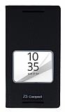Sony Xperia Z5 Compact Gizli Mıknatıslı Çerçeveli Siyah Deri Kılıf
