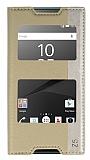 Sony Xperia Z5 Gizli Mıknatıslı Çift Pencereli Gold Deri Kılıf