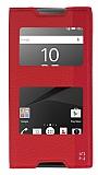 Sony Xperia Z5 Gizli Mıknatıslı Çift Pencereli Kırmızı Deri Kılıf