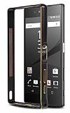 Eiroo Sony Xperia Z5 Gold Çizgili Metal Bumper Çerçeve Siyah Kılıf