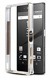 Eiroo Sony Xperia Z5 Gold Çizgili Metal Bumper Çerçeve Silver Kılıf