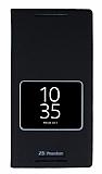 Eiroo Sony Xperia Z5 Premium Gizli Mıknatıslı Pencereli Siyah Deri Kılıf
