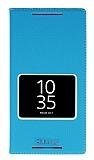 Sony Xperia Z5 Premium Gizli Mıknatıslı Çerçeveli Mavi Deri Kılıf
