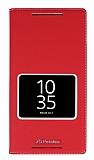 Sony Xperia Z5 Premium Gizli Mıknatıslı Çerçeveli Kırmızı Deri Kılıf