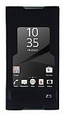 Sony Xperia Z5 Gizli Mıknatıslı Pencereli Siyah Deri Kılıf