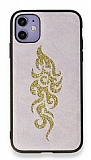 Eiroo Spark iPhone 11 Gold Simli Pembe Silikon Kılıf