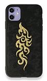 Eiroo Spark iPhone 11 Gold Simli Siyah Silikon Kılıf