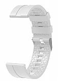 Eiroo Sport Samsung Galaxy Watch 46 mm Beyaz Silikon Kordon