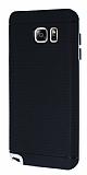 Eiroo Stripe Samsung Galaxy Note 5 Beyaz Kenarlı Siyah Silikon Kılıf