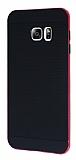 Eiroo Stripe Samsung Galaxy S6 Edge Plus Pembe Kenarlı Siyah Silikon Kılıf