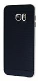 Eiroo Stripe Samsung Galaxy S6 Edge Plus Gold Kenarlı Siyah Silikon Kılıf