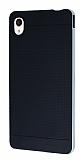 Eiroo Stripe Sony Xperia M4 Aqua Silver Kenarlı Siyah Silikon Kılıf