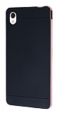 Eiroo Stripe Sony Xperia M4 Aqua Rose Gold Kenarlı Siyah Silikon Kılıf