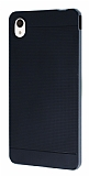 Eiroo Stripe Sony Xperia M4 Aqua F�me Kenarl� Siyah Silikon K�l�f