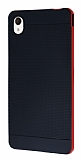 Eiroo Stripe Sony Xperia M4 Aqua Kırmızı Kenarlı Siyah Silikon Kılıf