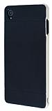 Eiroo Stripe Sony Xperia Z3 Gold Kenarlı Siyah Silikon Kılıf