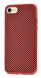 Eiroo Surface iPhone 7 / 8 Karbon Kırmızı Silikon Kılıf