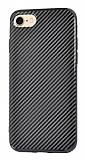 Eiroo Surface iPhone 7 / 8 Karbon Siyah Silikon Kılıf