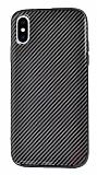 Eiroo Surface iPhone X / XS Karbon Siyah Silikon Kılıf