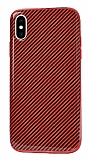 Eiroo Surface iPhone X / XS Karbon Kırmızı Silikon Kılıf