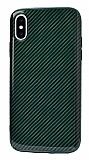 Eiroo Surface iPhone X / XS Karbon Yeşil Silikon Kılıf