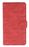Eiroo Tabby iPhone 7 Plus / 8 Plus Cüzdanlı Kapaklı Kırmızı Deri Kılıf
