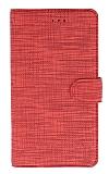 Eiroo Tabby iPhone X / XS Cüzdanlı Kapaklı Kırmızı Deri Kılıf