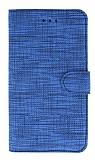 Eiroo Tabby iPhone X / XS Cüzdanlı Kapaklı Mavi Deri Kılıf