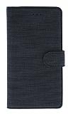 Eiroo Tabby Samsung Galaxy A11 Cüzdanlı Kapaklı Siyah Deri Kılıf