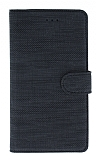 Eiroo Tabby Samsung Galaxy A6 2018 Cüzdanlı Kapaklı Siyah Deri Kılıf