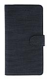 Eiroo Tabby Samsung Galaxy A8 2018 Cüzdanlı Kapaklı Siyah Deri Kılıf