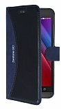 Eiroo Thunder Asus Zenfone Go Standlı Cüzdanlı Lacivert Deri Kılıf