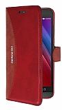 Eiroo Thunder Asus Zenfone Go Standlı Cüzdanlı Kırmızı Deri Kılıf