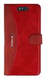 Eiroo Thunder Asus ZenFone Selfie Standlı Cüzdanlı Kırmızı Deri Kılıf