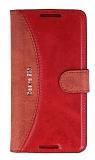 Eiroo Thunder HTC Desire 526 Standlı Cüzdanlı Kırmızı Deri Kılıf