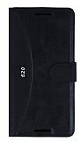 Eiroo Thunder HTC Desire 620 Standlı Cüzdanlı Siyah Deri Kılıf