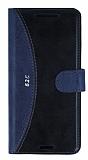Eiroo Thunder HTC Desire 626 Standlı Cüzdanlı Lacivert Deri Kılıf