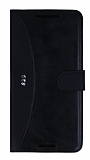 Eiroo Thunder HTC Desire 828 Standlı Cüzdanlı Siyah Deri Kılıf