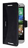 Eiroo Thunder HTC One E8 Standlı Cüzdanlı Siyah Deri Kılıf