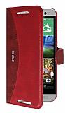 Eiroo Thunder HTC One E8 Standlı Cüzdanlı Kırmızı Deri Kılıf