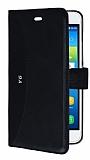 Eiroo Thunder Huawei Y6 Standlı Cüzdanlı Siyah Deri Kılıf