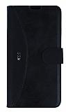 Eiroo Thunder LG K10 Standlı Cüzdanlı Siyah Deri Kılıf