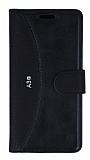 Eiroo Thunder Samsung Galaxy A3 2016 Standlı Cüzdanlı Siyah Deri Kılıf