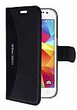 Eiroo Thunder Samsung Galaxy Core Prime Standlı Cüzdanlı Siyah Deri Kılıf