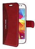 Eiroo Thunder Samsung Galaxy Core Prime Standlı Cüzdanlı Kırmızı Deri Kılıf
