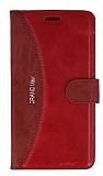 Eiroo Thunder Samsung Galaxy Grand Max Standlı Cüzdanlı Kırmızı Deri Kılıf