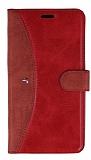 Eiroo Thunder Samsung Galaxy J7 / Galaxy J7 Core Standlı Cüzdanlı Kırmızı Deri Kılıf