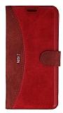 Eiroo Thunder Samsung Galaxy Note 5 Standlı Cüzdanlı Kırmızı Deri Kılıf