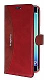 Eiroo Thunder Samsung Galaxy S6 Edge Plus Standlı Cüzdanlı Kırmızı Deri Kılıf