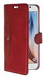 Eiroo Thunder Samsung Galaxy S6 Standlı Cüzdanlı Kırmızı Deri Kılıf
